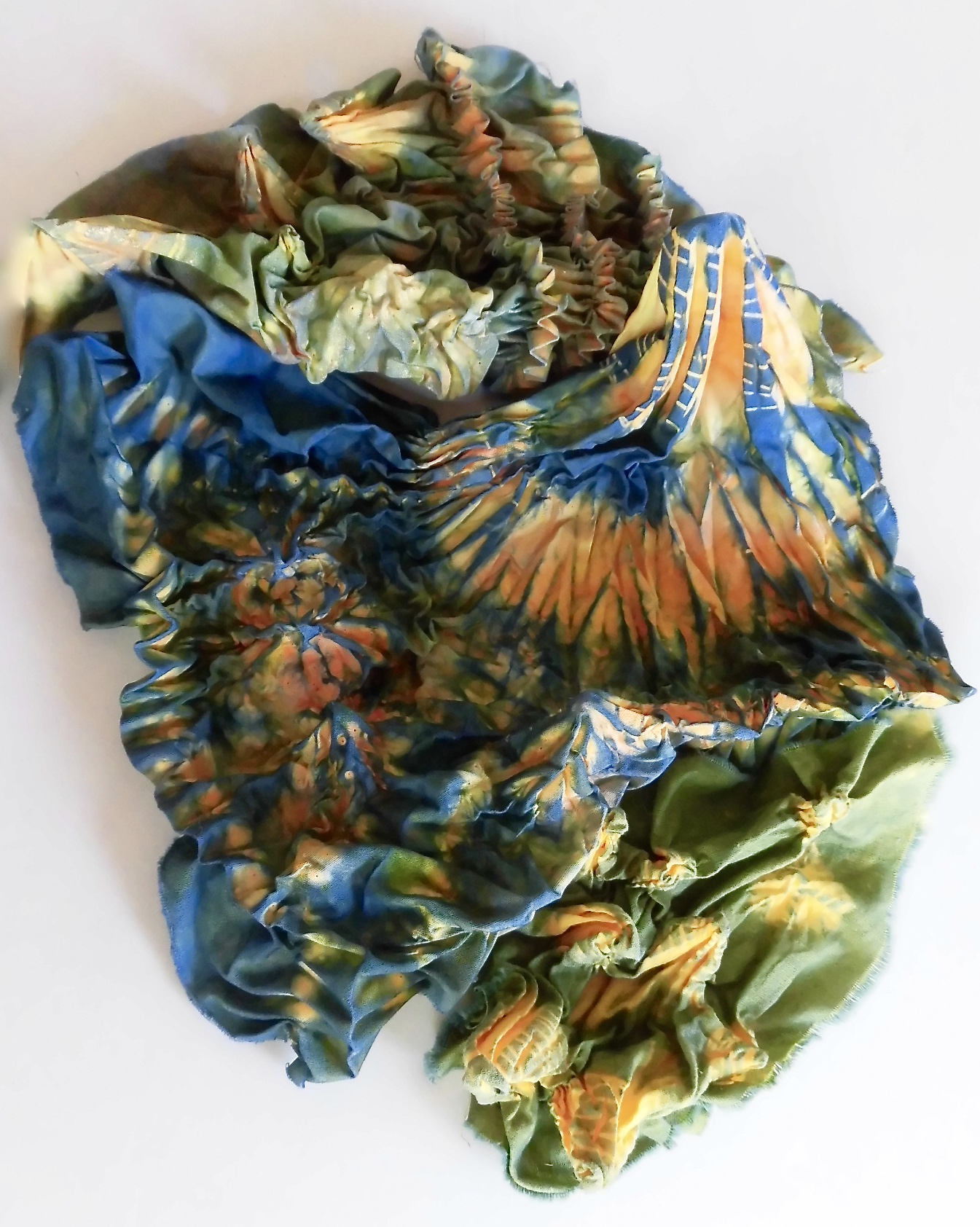 Shibori Stitching and Indigo Dyeing