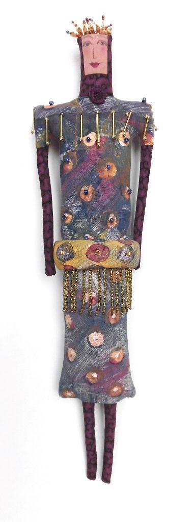 Woman in Golden Crown, handprinted, beaded (3-29-10) $200.00