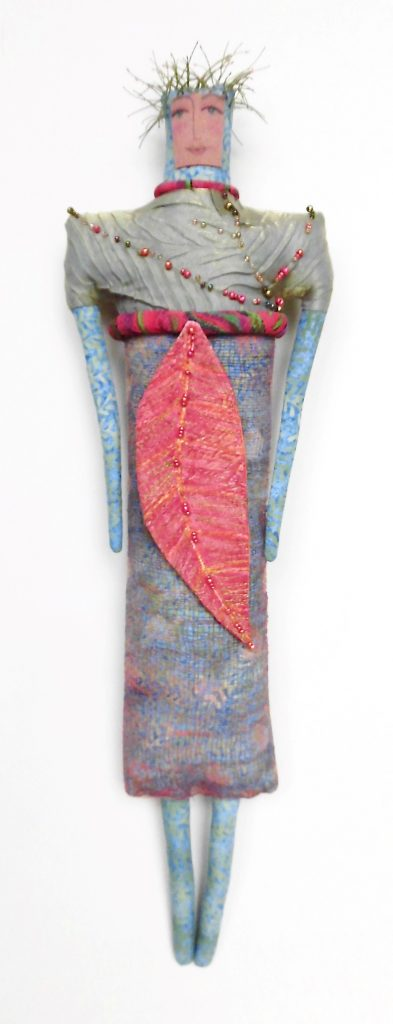 Red Leaf Woman-handprinted, stitched, beaded (2-10-12A) $200.00