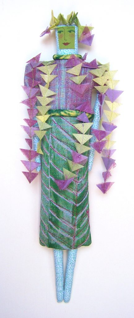 Woman in Wisteria Leaves and Blooms, handprinted, kanzashi folding, beaded, stitched (10-23-12A) $200
