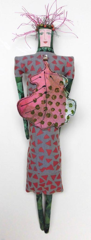 Woman in Pink Oak Leaf, handprinted, monoprinted, beaded (4-12-17) $200
