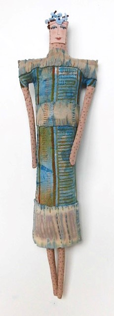 Woman in Blue, discharge printed, embroidered, beaded (5-15-18) $200