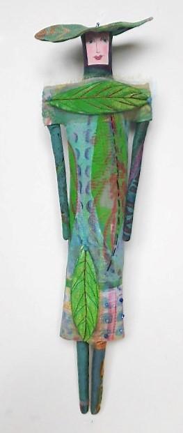 Woman in Green Leaves, handprinted, drawn, stitched, beaded (6-6-18) $200
