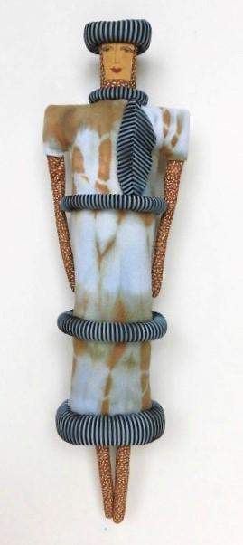 City Woman Wearing Stripes, arashi shibori dyed, stitched (6-24-18) $200