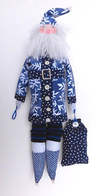 Santa- Blue with Ferns by Jennifer Gould